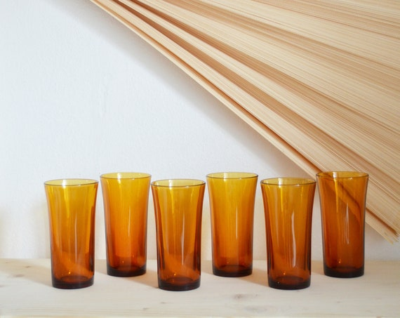 Set of 6 glasses of amber, amber brass