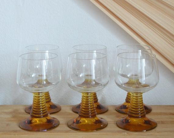 Set of 6 glasses wine glass liqueur glass stem glass brown, mustard mustard yellow