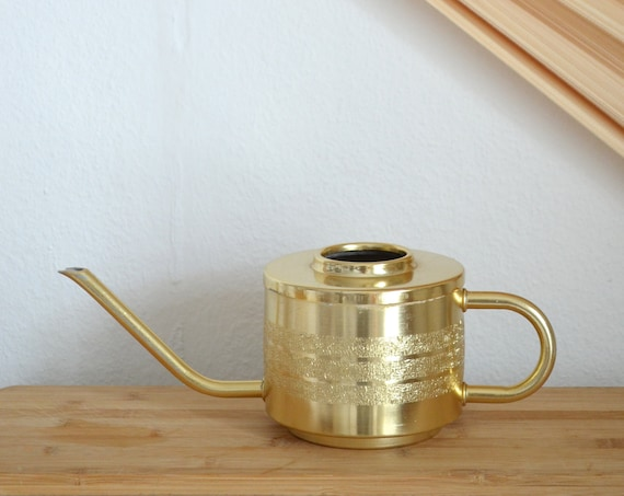 Brass watering can vintage gold