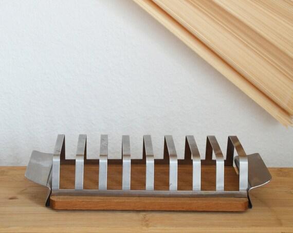 Mid century teak wood toast - stand / holder vintage
