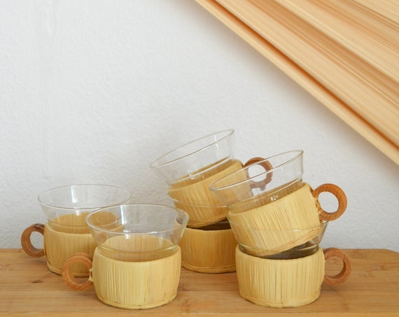 Set of 6 vintage rattan teacups, cups, glasses, tea glasses, basket, raffia mug boho home décor
