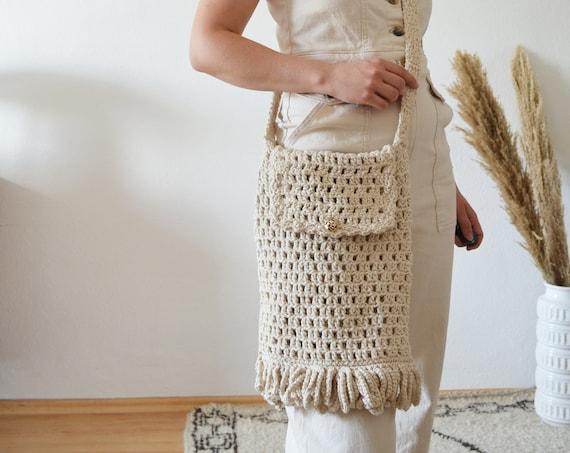 Vintage macrame bag bag handmade macrame hippie handbag boho crochet bag white