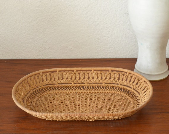 Boho rattan tray vintage tray bohemian ethno wicker round home decor basket