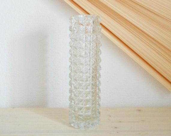 Large vintage vase bottle glass crystal glass handmade