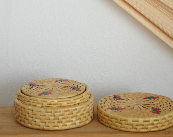 Set of 6 rattan coasters with basket casket wicker basket coaster boho