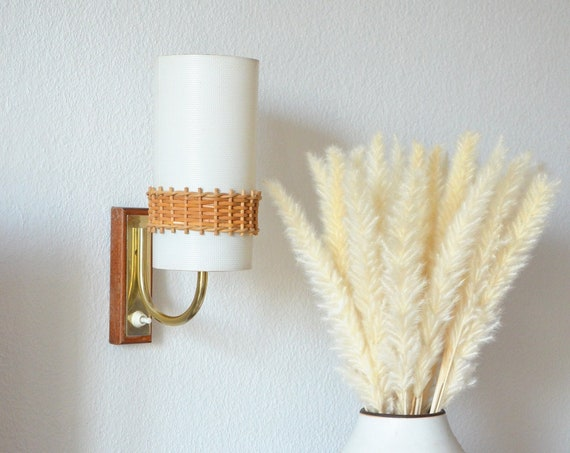 Mid Century wall lamp made of wood and rattan