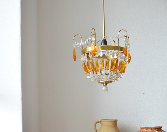 Vintage chandelier brass, gold & amber glass rusty orange hanging lamp