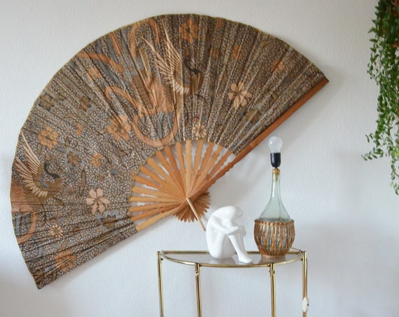 Vintage wooden wall fan bird of paradise beige brown black peacock wall hanging