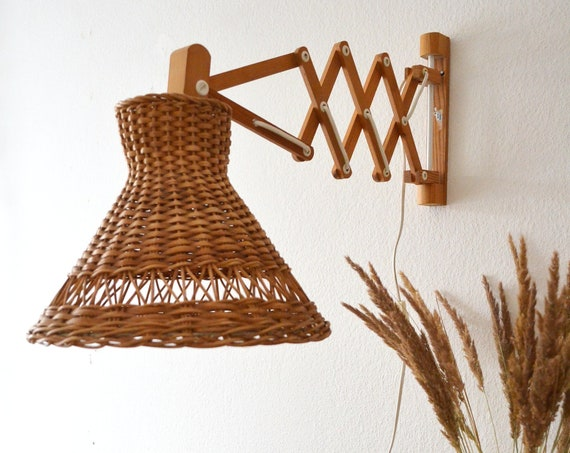 Mid Century scissor lamp made of wood and rattan