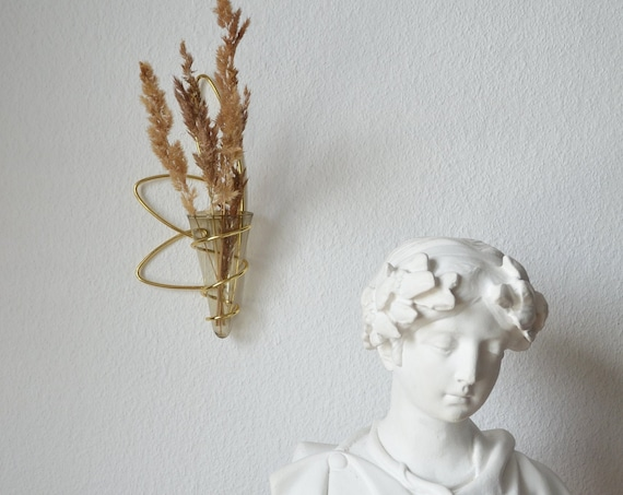 Mid Century wall vase brass glass gold smokeglass vase