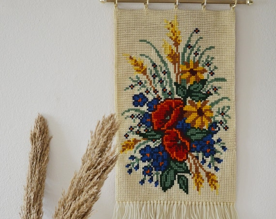 Crossstick wall hanging flowers embroidered boho vintage