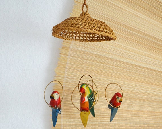 Hanging Rattan Decoration with Birds - Boho, Parrot Wood