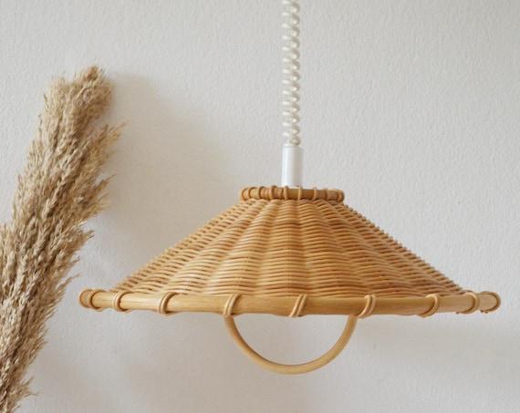 Rattan accordion hanging lamp round vintage lampshade wicker hanging lamp shade round boho