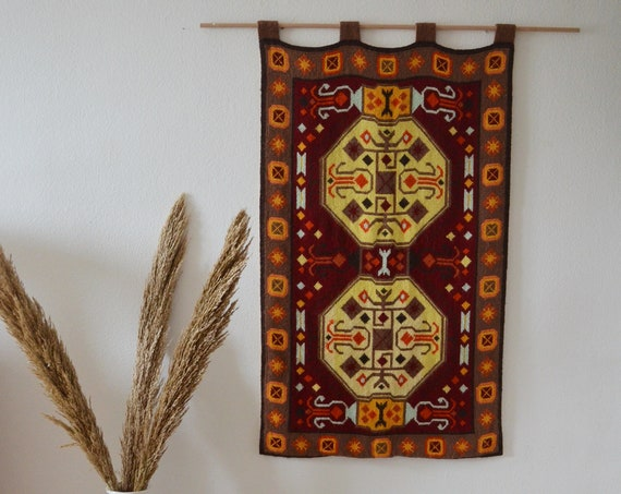 Vintage wall hanging oriental brown red pink wool tapestry wall décor boho bohemian