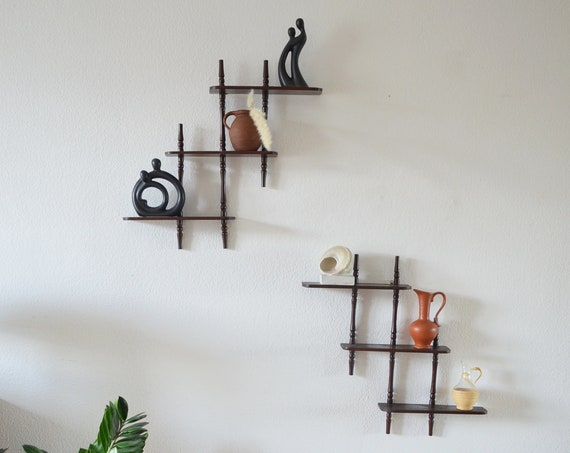 Vintage wall shelf set kitchen shelf spice shelf wood kitchen shelf spice rack wood