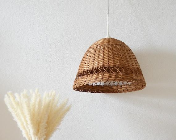Rattan hanging lamp round vintage lampshade wrap hanging lamp round boho