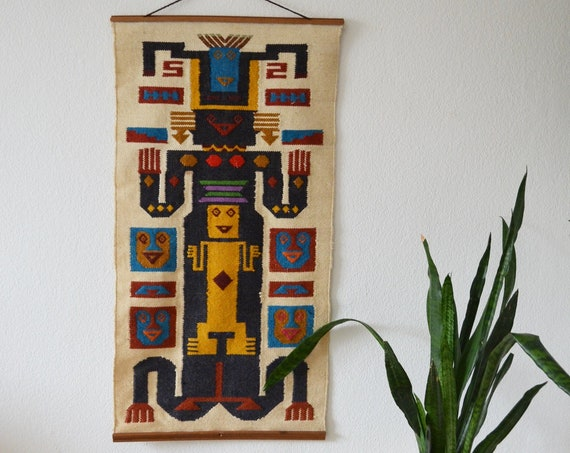 Vintage Indian wall hanging wool tapestry boho