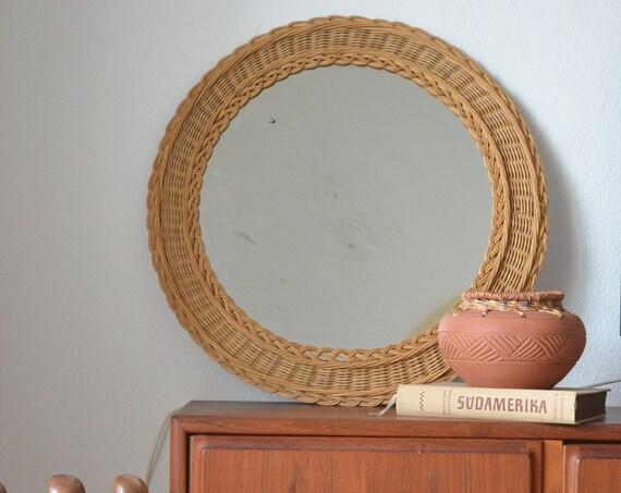 Vintage 1960's Rattan Mirror Around 60cm Mid century Wall Mirror