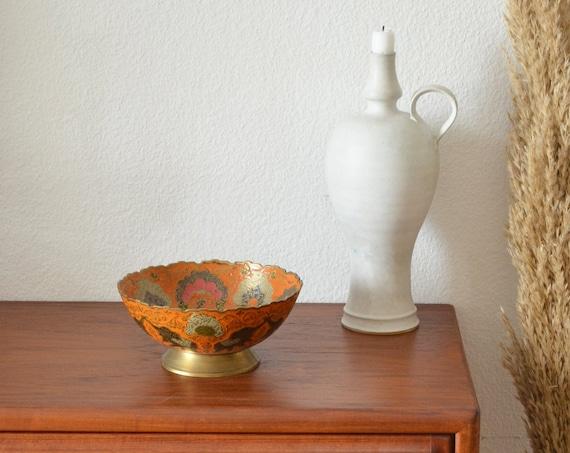 Vintage brass bowl peacock, elephant oriental boho bowl brass gold orange pink