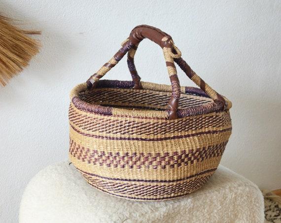 Reserved for Kate - Vintage straw bag handbag basket boho summer