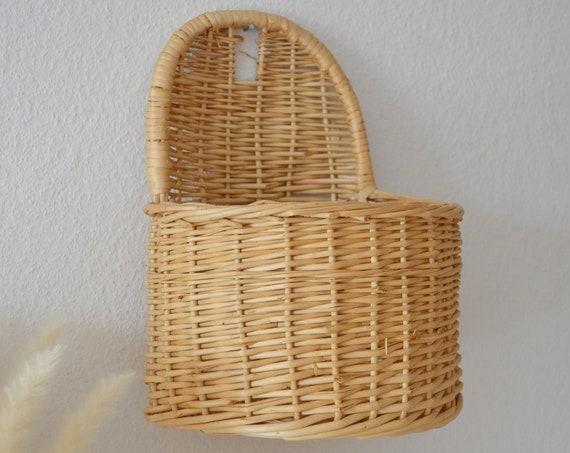 Vintage rattan wall basket medium wicker wall basket plants planting basket wall planter boho