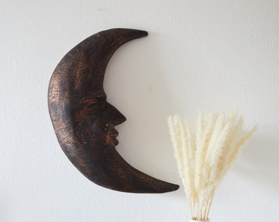 Vintage wall decoration moon face black copper
