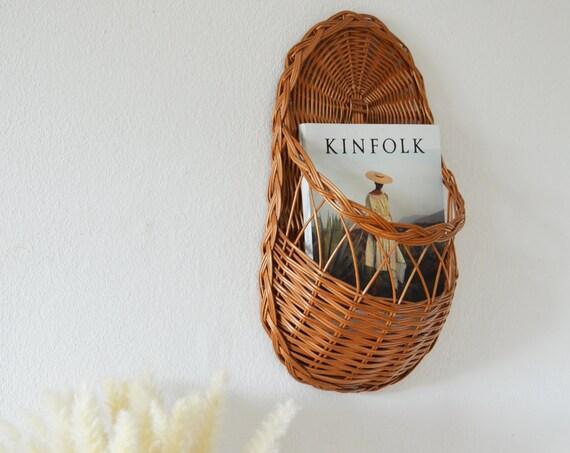 Vintage rattan wall basket shelf wall basket wicker wall planter