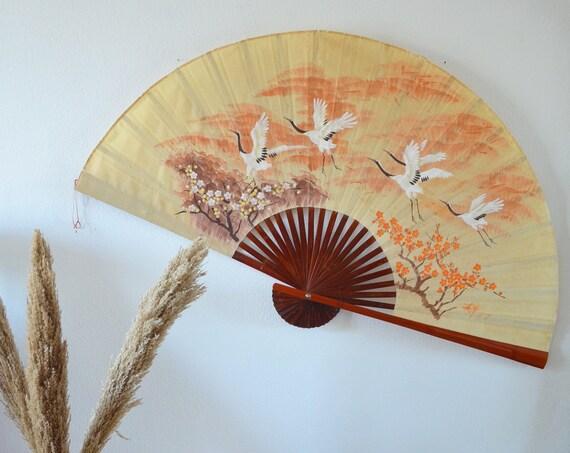 Vintage wood wall fan hand painted silk beige brown orange crane wall hanging