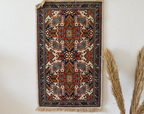 Bohemian Vintage Persian Rug Oushak Runner White cream orange blue 110 x 67 cm