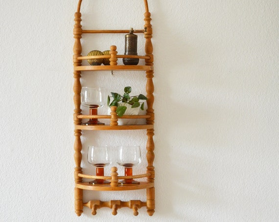 Vintage kitchen shelf spice rack wood wood