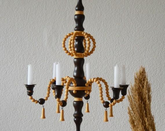 Vintage Chandelier Candlestick Wood Brass Beaded Macrame Black-Brown