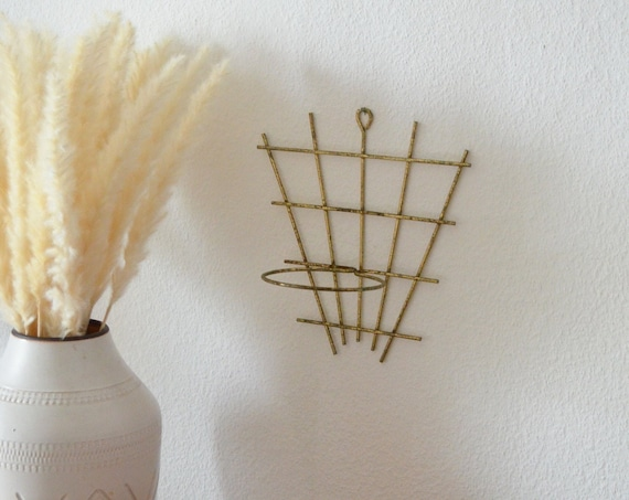 Vintage wall plant holder brass mid century wall planter brass gold boho flower pot