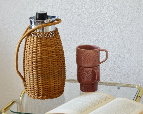 Insulated silver rattan thermos jug vintage