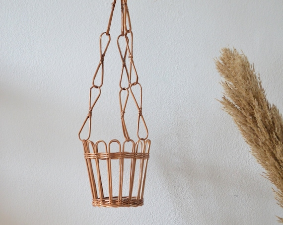 Vintage Rattan Flower Light Hanging PlantPot Wicker hanging planter plants