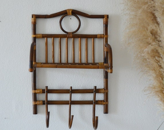 Vintage rattan & bamboo wall shelf shelf wicker spice rack boho