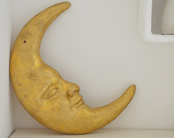 Vintage wall decoration moon face gold