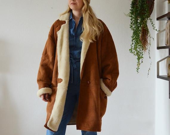 Vintage Shearling Coat Jacket Beige Brown S - L