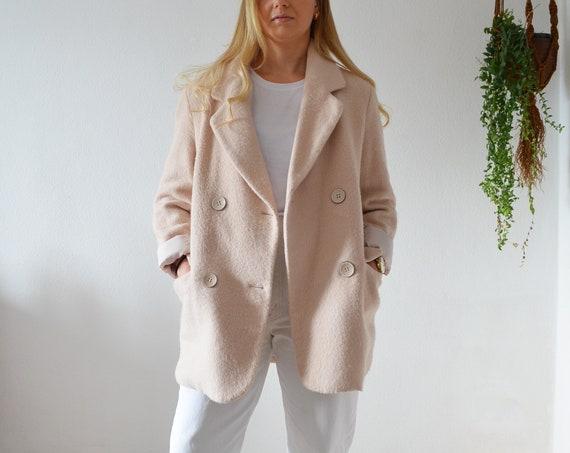 Vintage Coat Wool Jacket Black Pink Size S
