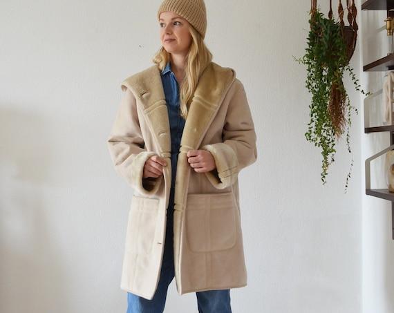 Vintage Shearling Coat Jacket Beige M