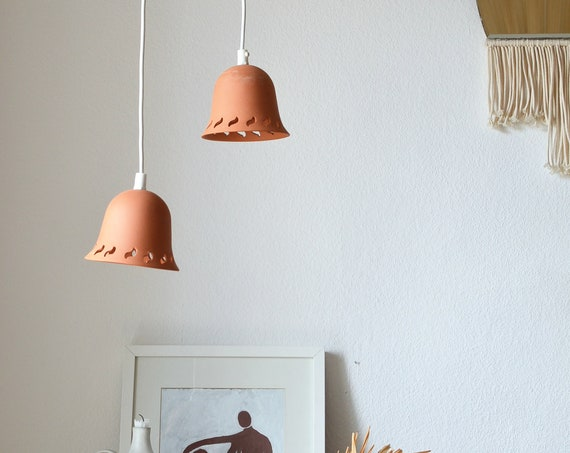 Set of 2 terracotta lamps terracotta hanging lamp hanging lamp ceramic brown