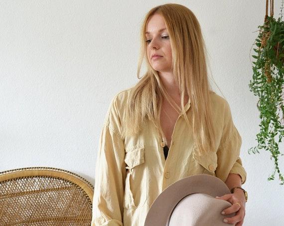 Vintage linen shirt beige mens button-down shirt linen size 41/42