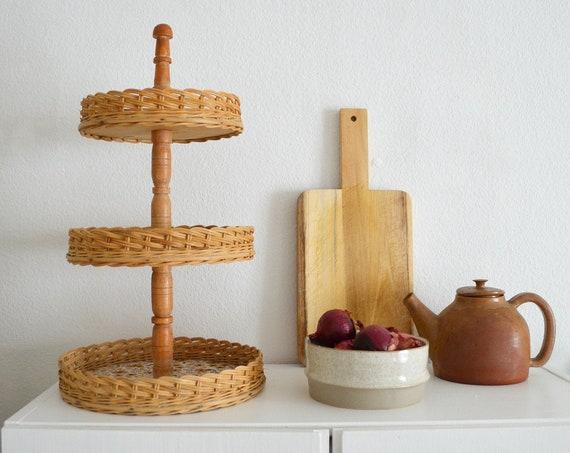 Vintage Etagere Rattan basket large boho bohemian