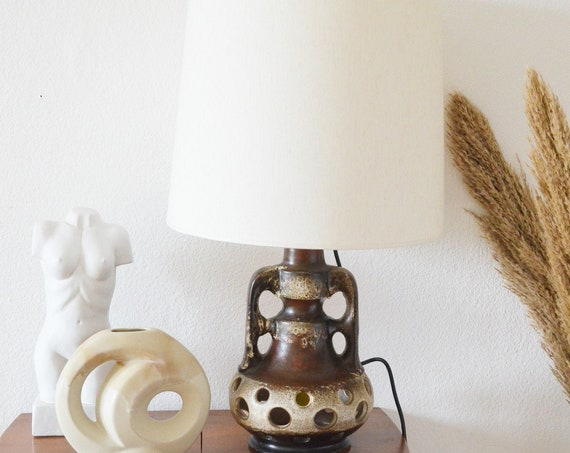 Mid century table lamp in ceramic, vintage brown lamp