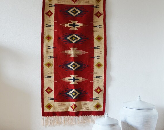 Vintage kilim rug runner red beige yellow boho rug kilim 150 x 70 cm