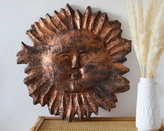 Vintage wall decoration sun face black copper