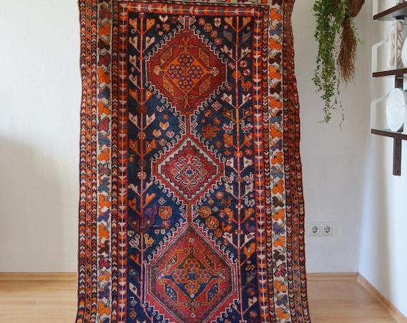 Vintage rug Berber Rug oriental dusty pink blue 207 x 103 cm Afghan Nomadic Thick Moroccan Taimani Baluch Wool Carpet