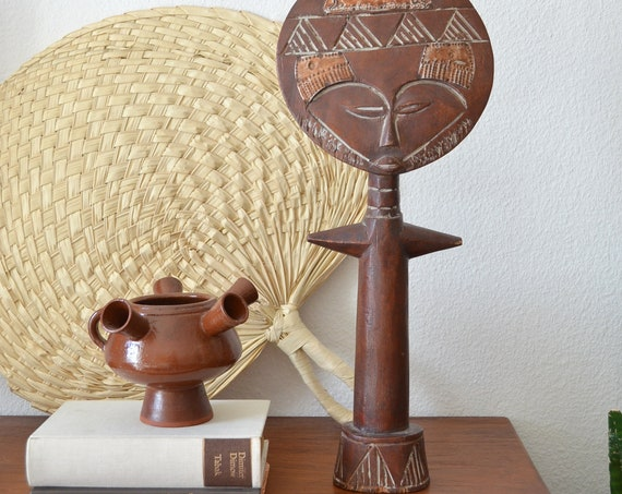 Vintage Ashanti figure wood boho head man