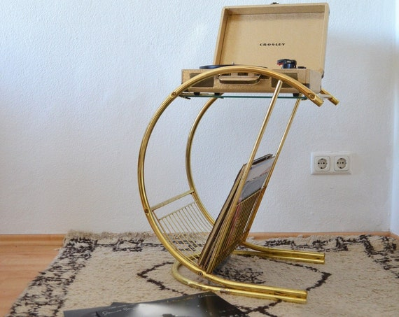 Vintage Record Stand, side table with glass for turntable, gold, newspaper stand
