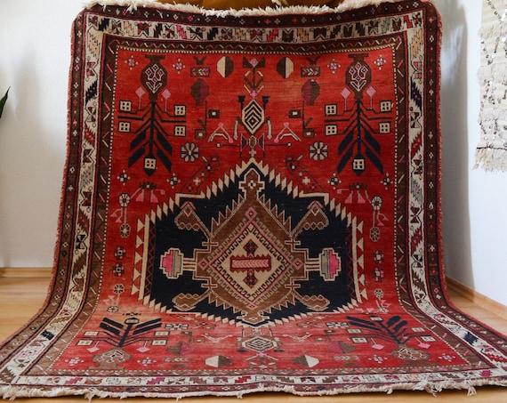 Vintage rug Berber Rug oriental dusty pink blue 146 x 206 cm Afghan Nomadic Thick Moroccan Taimani Baluch Wool Carpet