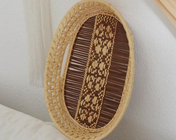 Boho Rattan Tablett Vintage tray bohemian ethno wicker oval home decor Korb Basket
